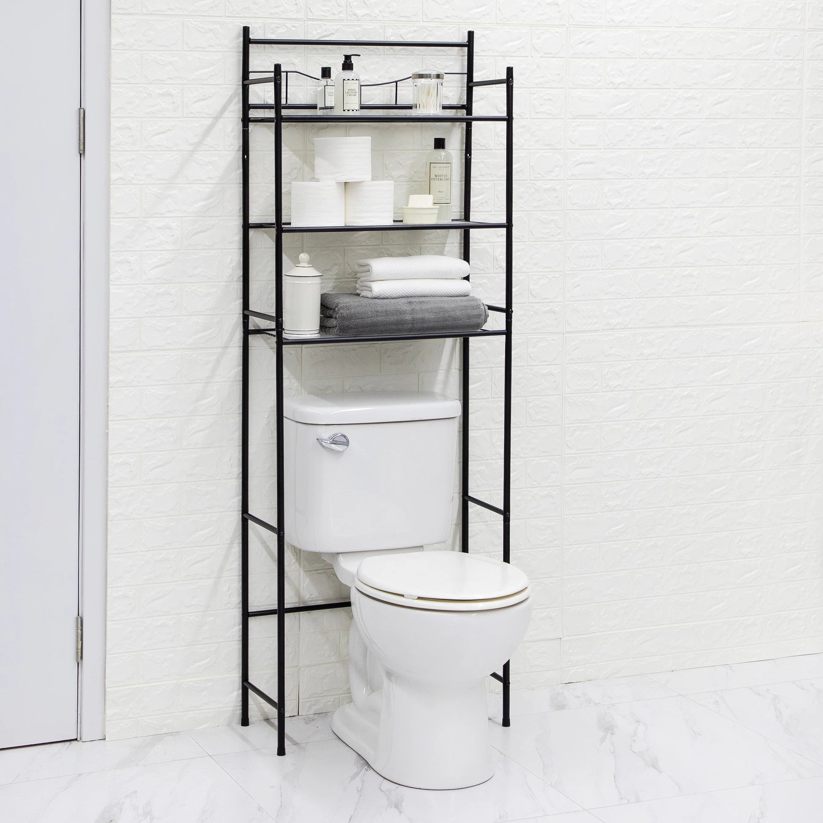 mainstays 3 shelf bathroom over the toilet space saver with liner matte black