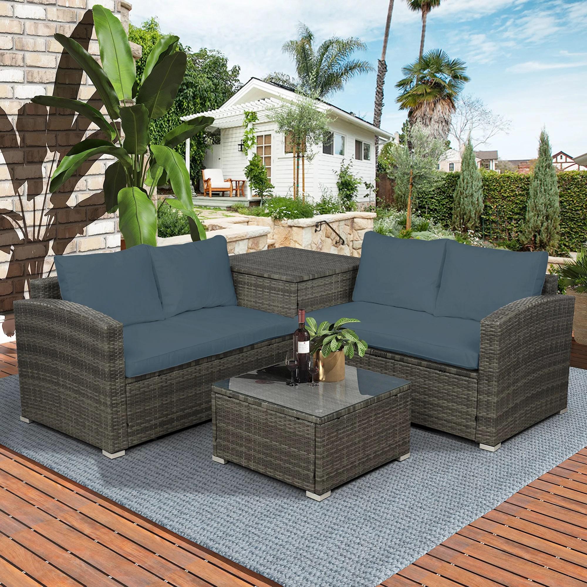 outdoor conversation set btmway 4 piece rattan wicker patio furniture sofa set outdoor deck patio backyard porch lawn bistro chair sets with