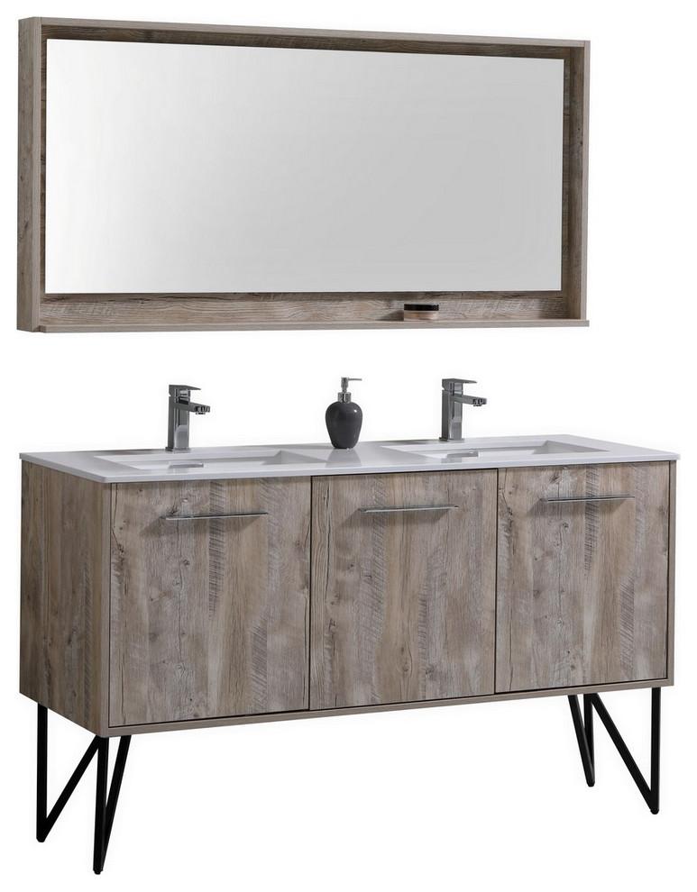 60 double sink modern bathroom vanity with quartz countertop matching mirror