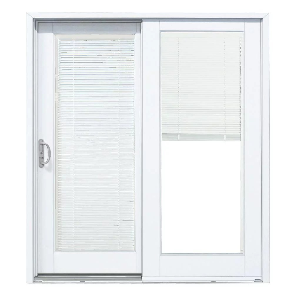 72 in x 80 in smooth white left hand composite sliding patio door with built in blinds