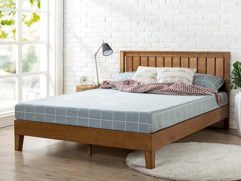zinus alexis 37 deluxe solid wood platform bed with headboard rustic pine full