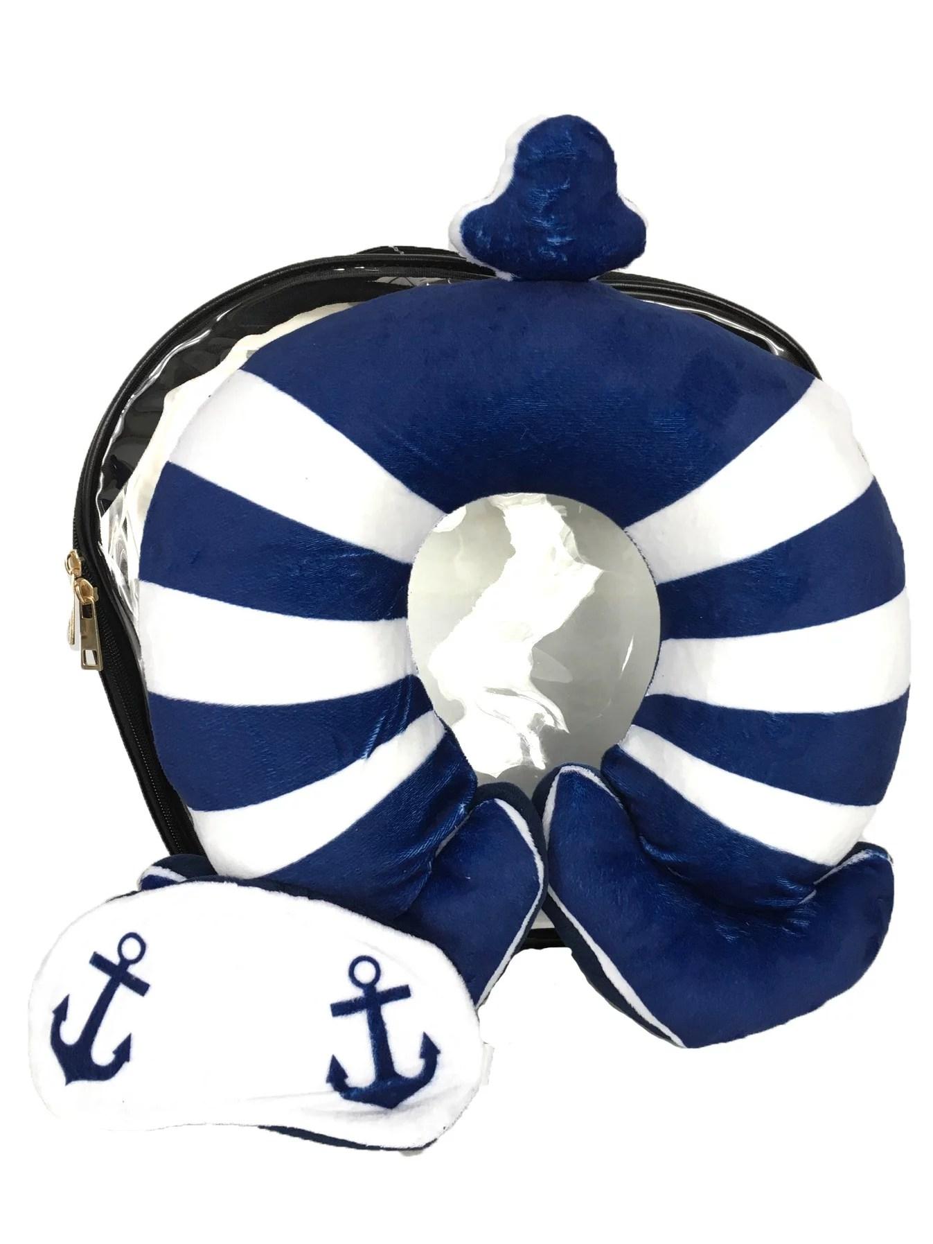 nautical anchor neck pillow eye mask clear travel case set
