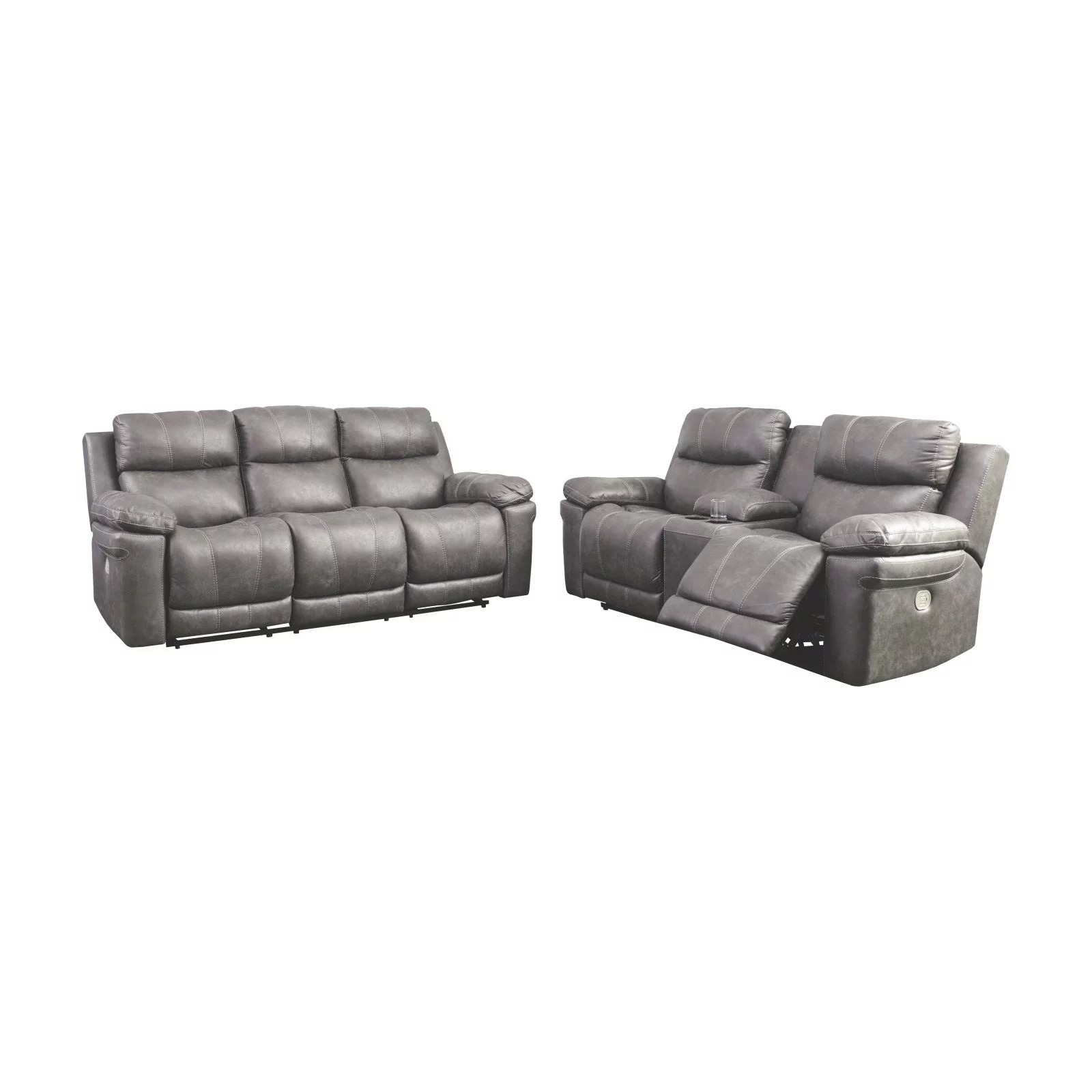 signature design by ashley erlangen power reclining sofa with adjustable headrest