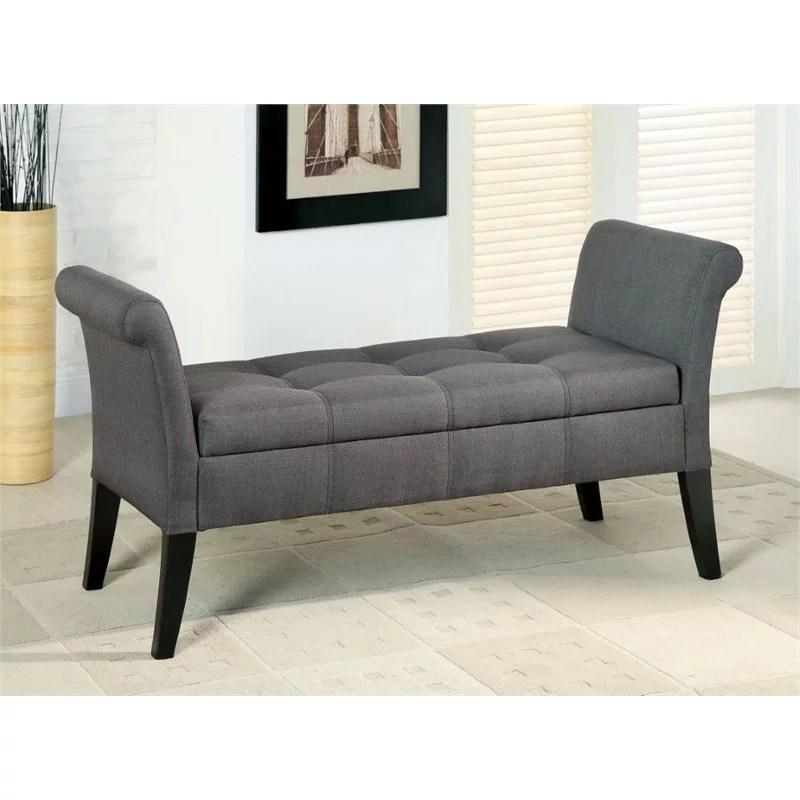 furniture of america arronia contemporary fabric storage bench in gray walmart com