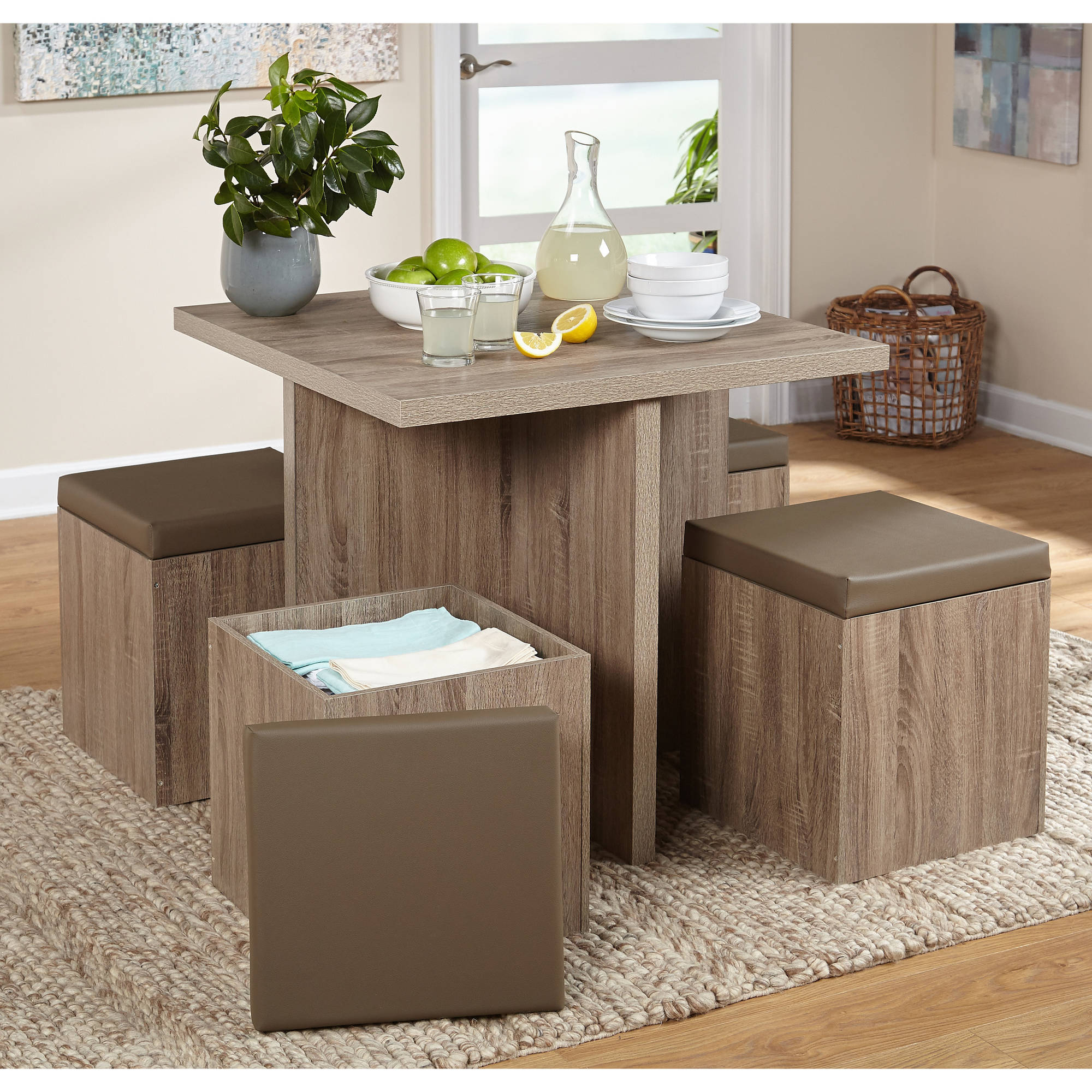 tms 5 piece baxter dining set with storage ottoman multiple colors walmart com