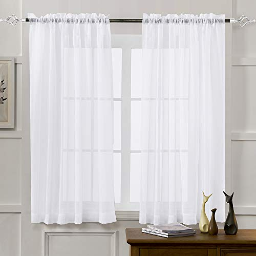 sheer curtains white 45 inch length rod pocket voile drapes for living room bedroom window treatments semi crinkle curtain panels for yard patio