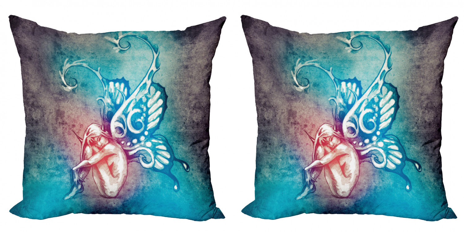 butterfly throw pillow cushion cover pack of 2 fairy with butterfly wings renewal female rebirth psyche lightness of being zippered double side