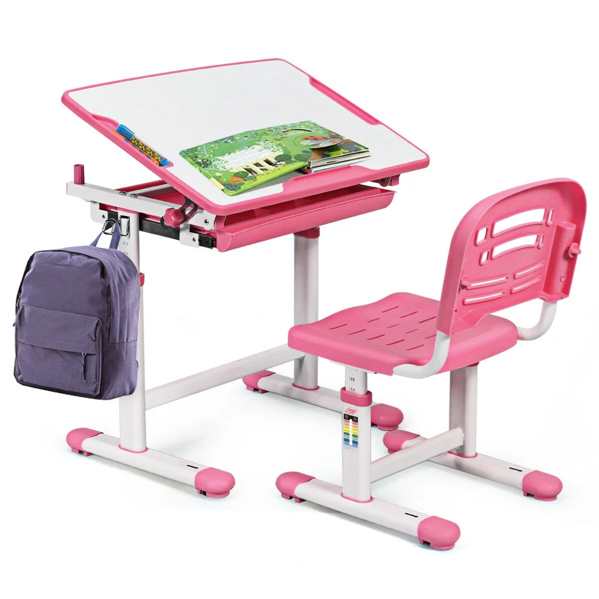 Gymax Height Adjustable Children S Desk Chair Set Multifunctional Study Drawing Pink Walmart Com Walmart Com
