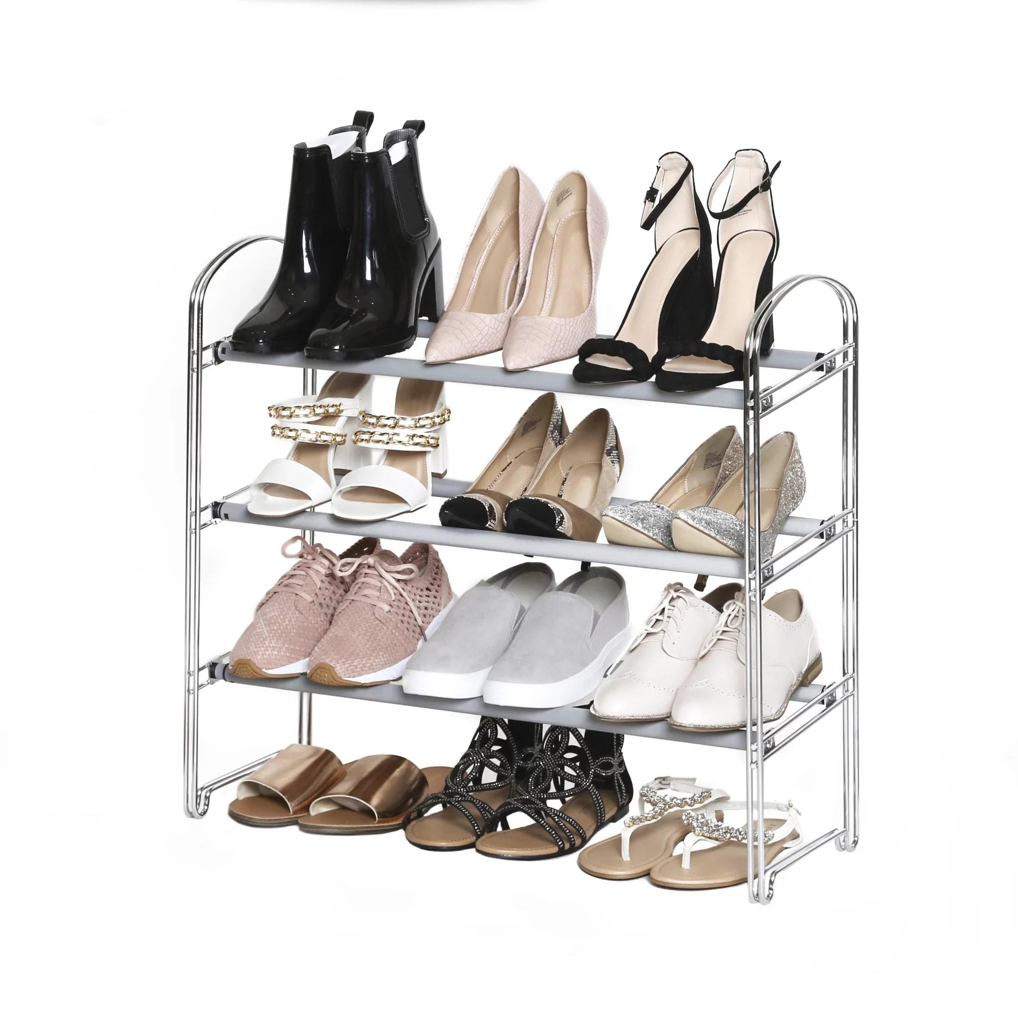 3 tier expandable shoe rack chrome by seville classics