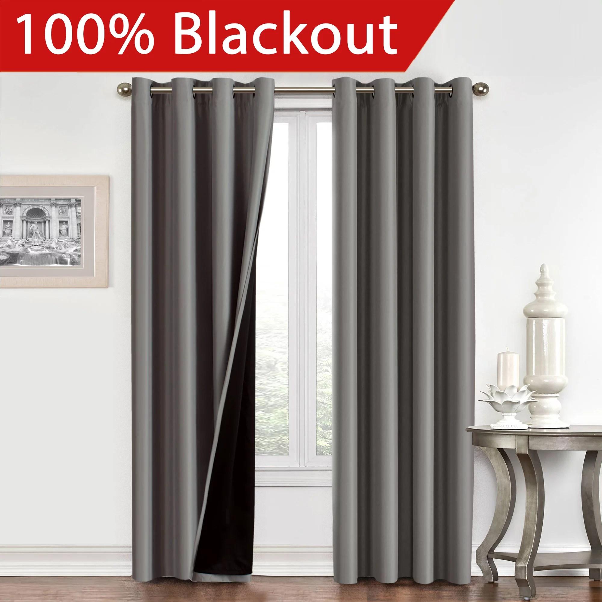 Flamingop 100 Blackout Faux Silk Satin Grommet Curtain Panels Set Of 2 Walmart Com Walmart Com