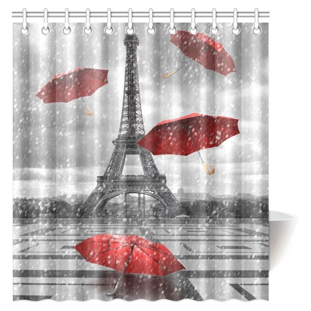 mypop eiffel tower shower curtain bathroom decor paris city eiffel tower with flying red umbrellas shower curtain bathroom decor with hooks 66 x 72