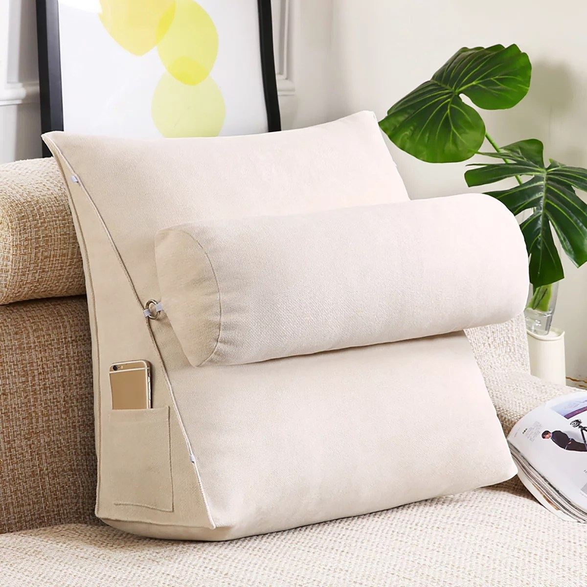 sofa bed rest reading pillow back support pillow bedrest pillows with 3 heights adjustable neck roll for reading watching tv in bed floor or sofa