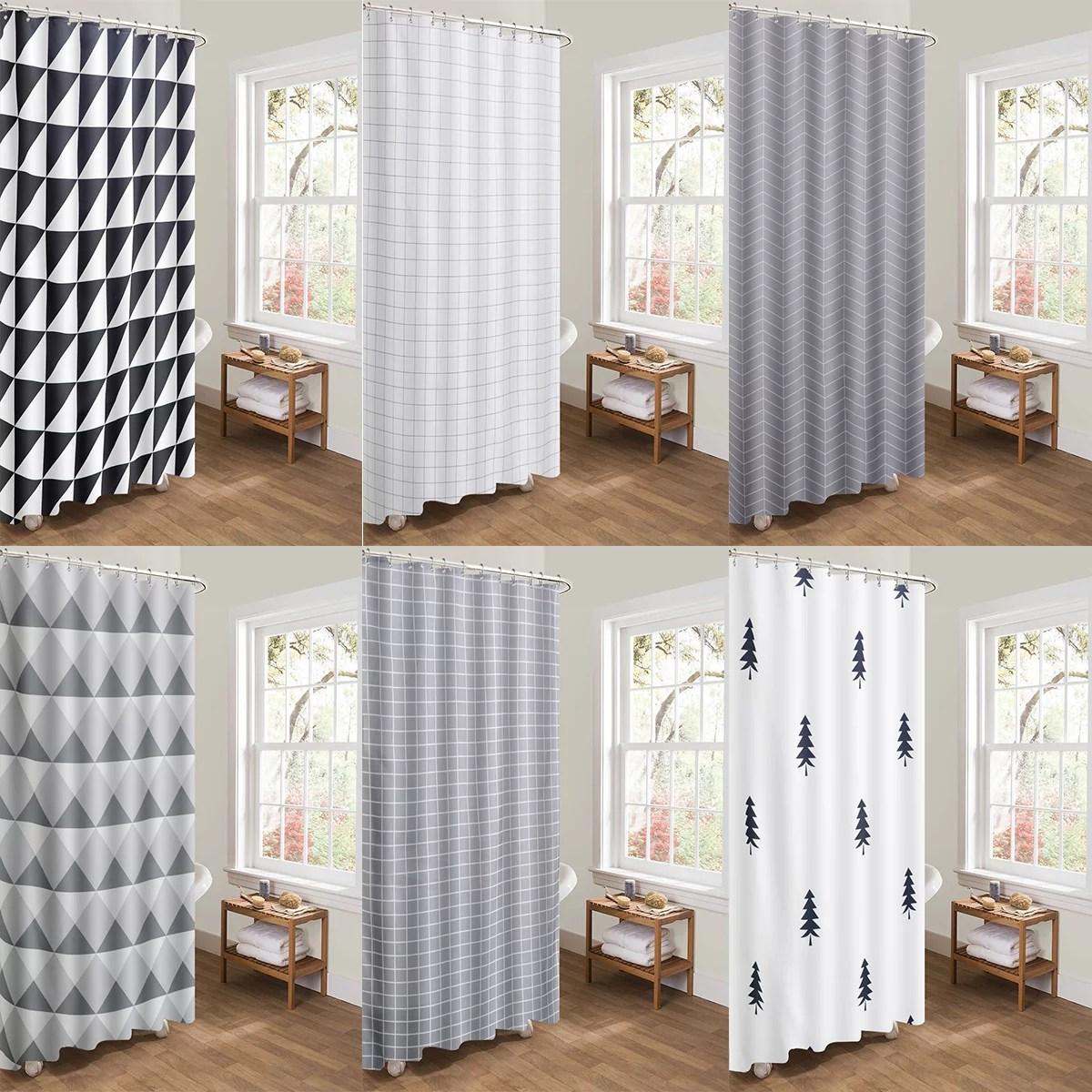 ukap new modern bathroom shower curtain with ring hooks 180 x 180 cm stripe spots