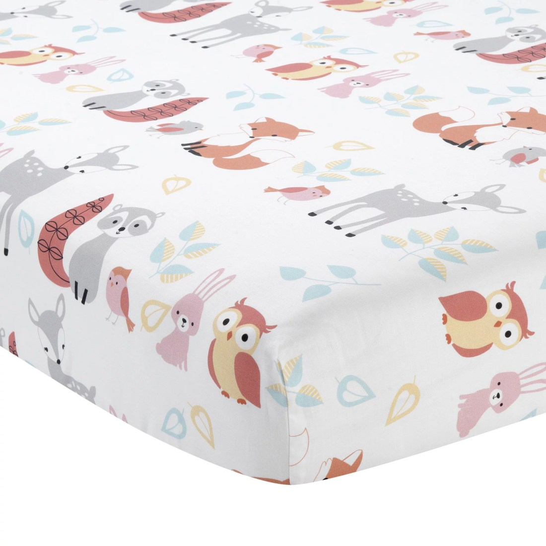 Lambs & Ivy Little Woodland Forest Animals 100% Cotton Baby Fitted Crib Sheet