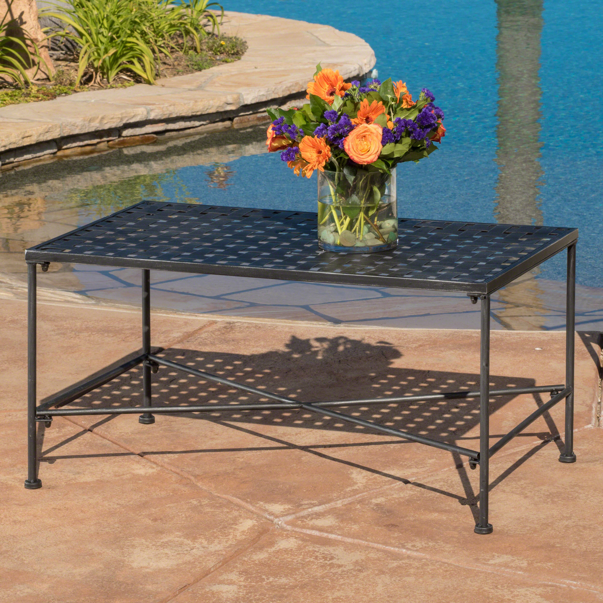 alexander outdoor iron coffee table black walmart com