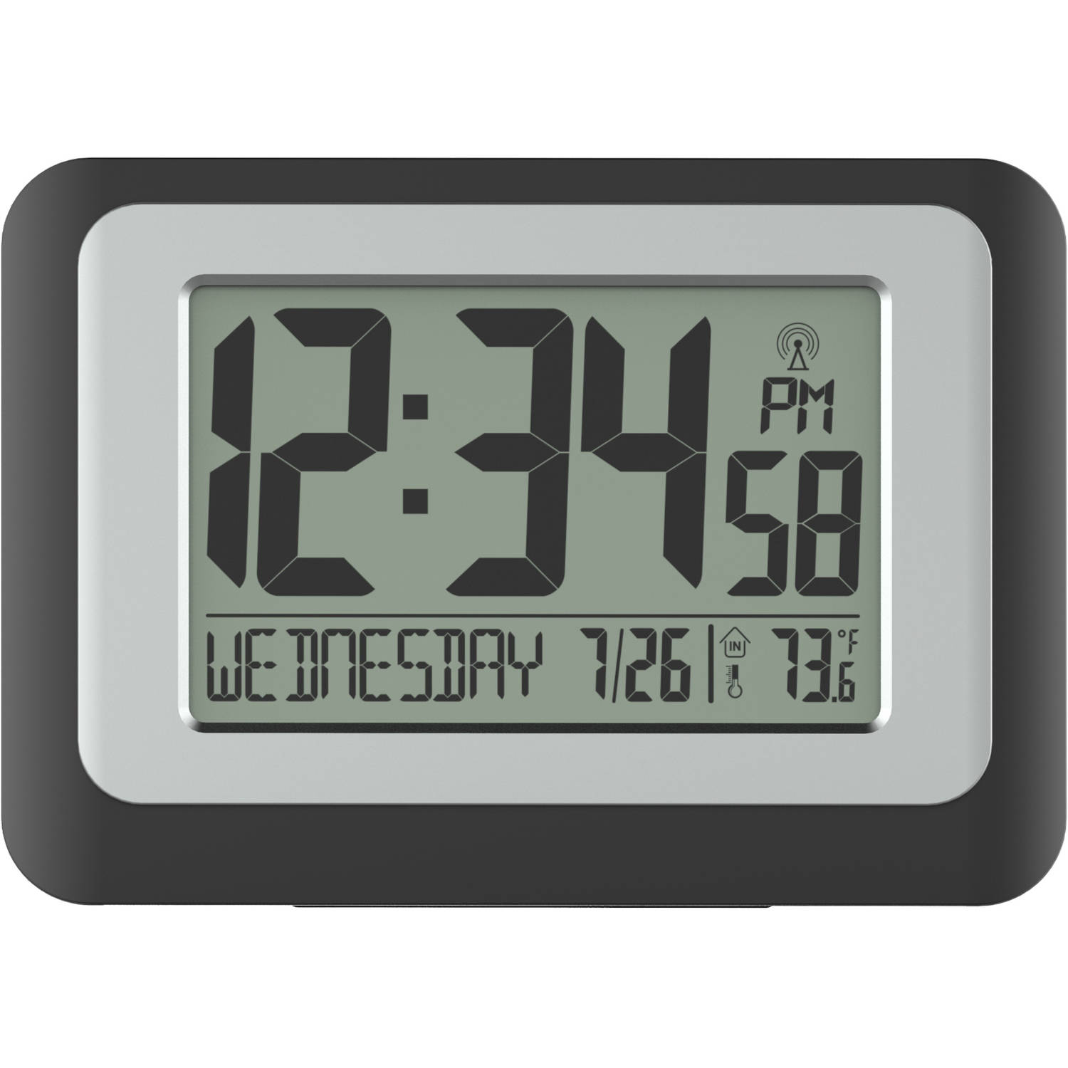 Digital Atomic Calendar Clock Indoor Temperature Time Date