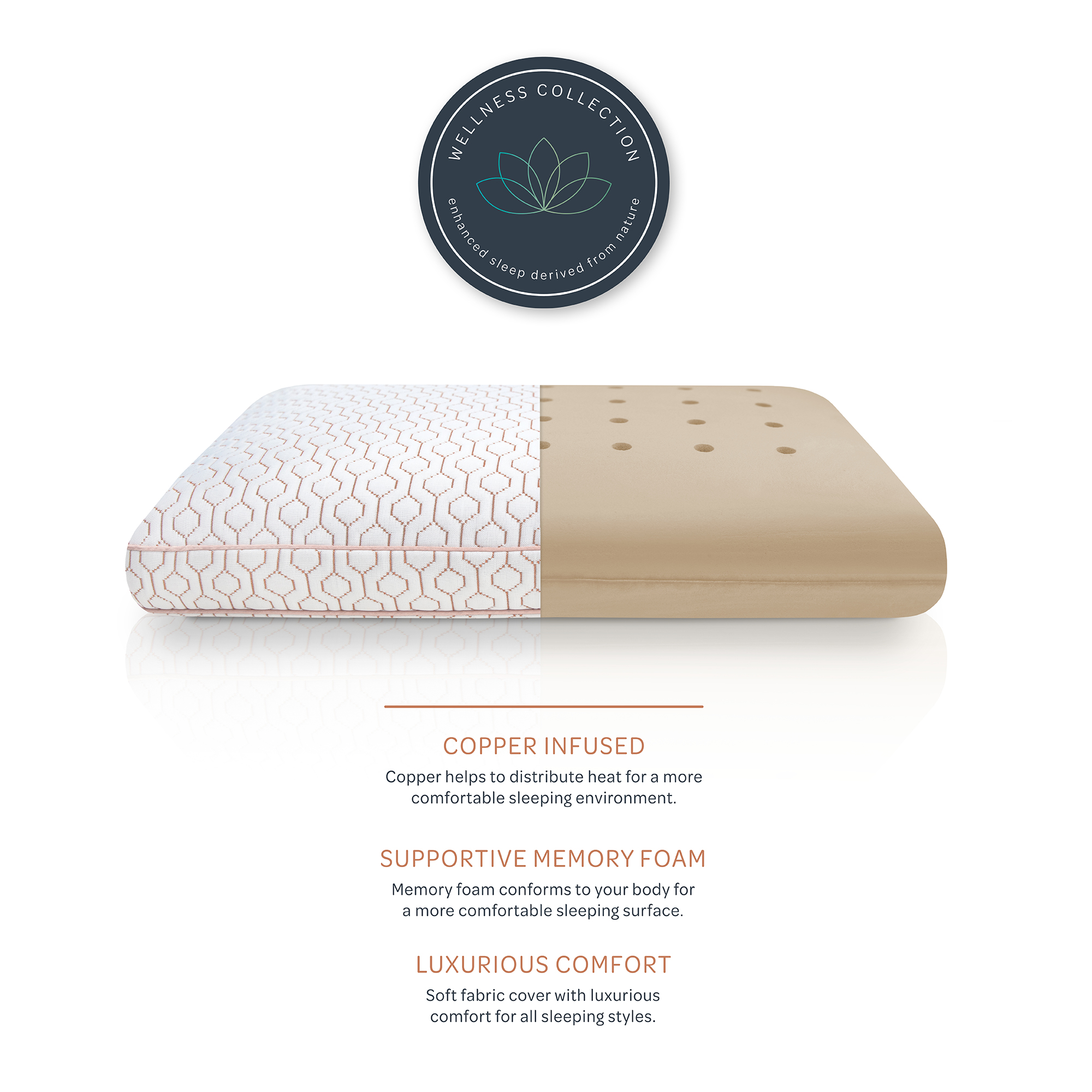 sensorpedic wellness collection copper infused memory foam bed pillow