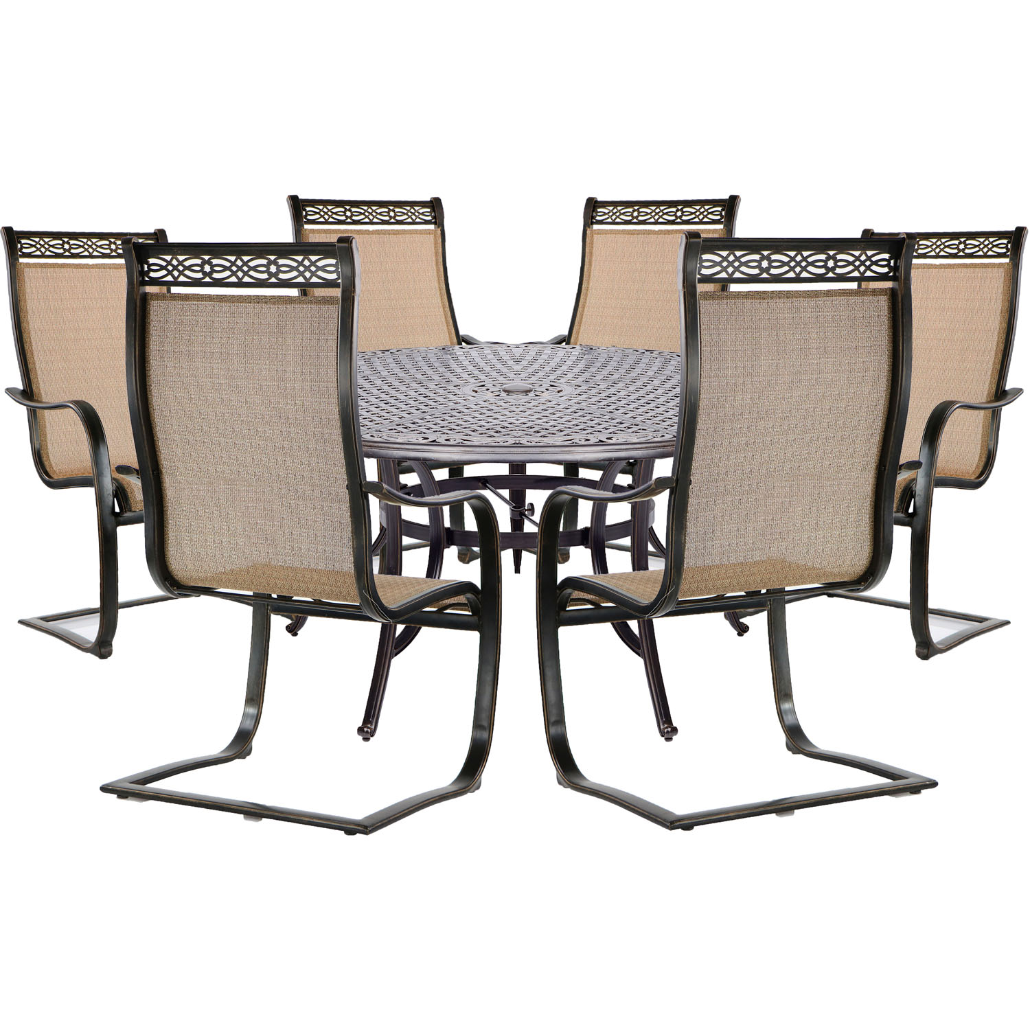hanover manor 7 piece outdoor dining set in cedar with 60 round cast top table and 6 contoured c spring chairs walmart com
