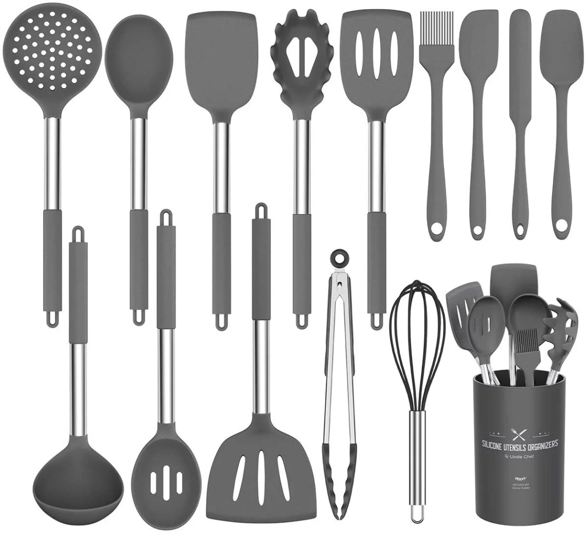 Buy Silicone Cooking Utensil Set Umite Chef Kitchen Utensils 15pcs Cooking Utensils Set Non Stick Heat Resistan Bpa Free Silicone Stainless Steel Handle Cooking Tools Whisk Kitchen Tools Set Grey Online In Indonesia 496505306