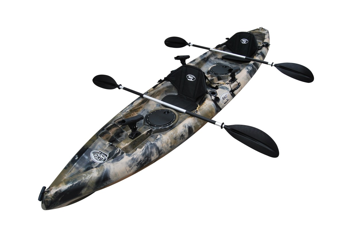 BKC TK181 12.5' Tandem Sit On Top Kayak W/ 2 Soft Padded Seats , Paddles ,7 Rod Holders Included 2 Person Kayak