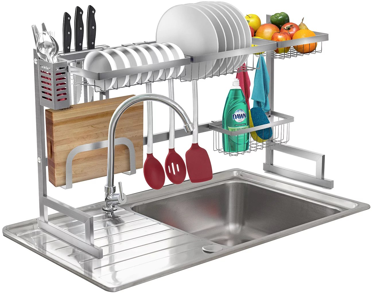 over the sink dish drying rack silver