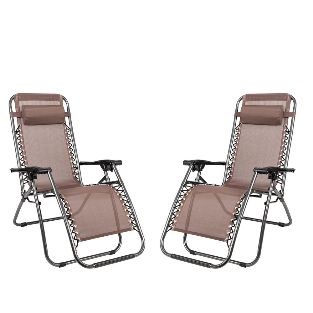 2 pcs lounge chair folding patio recliner zero gravity lounge chair with headrest portable folding chairs beach camping chairs indoor outdoor lawn