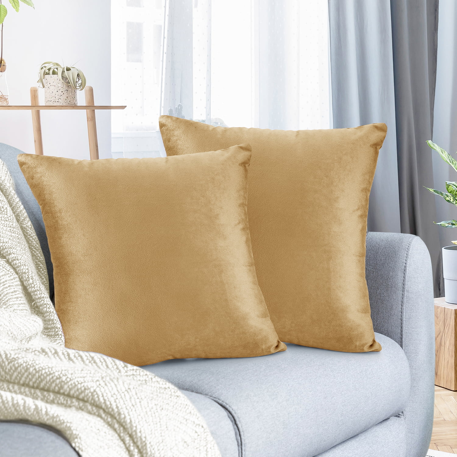 pack of 2 velvet throw pillow covers decorative soft square cushion cover 24 x 24