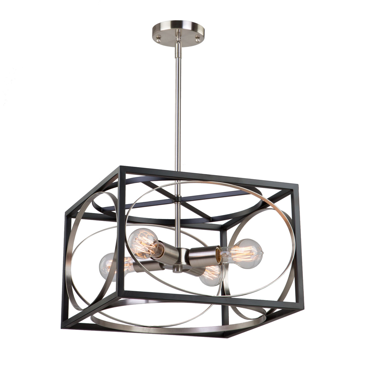 Chandeliers 4 Light Bulb Fixture With Black And Polished