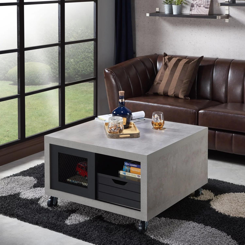 Furniture Of America Greine Contemporary Wood Square Coffee Table Black And Cement Walmart Com Walmart Com