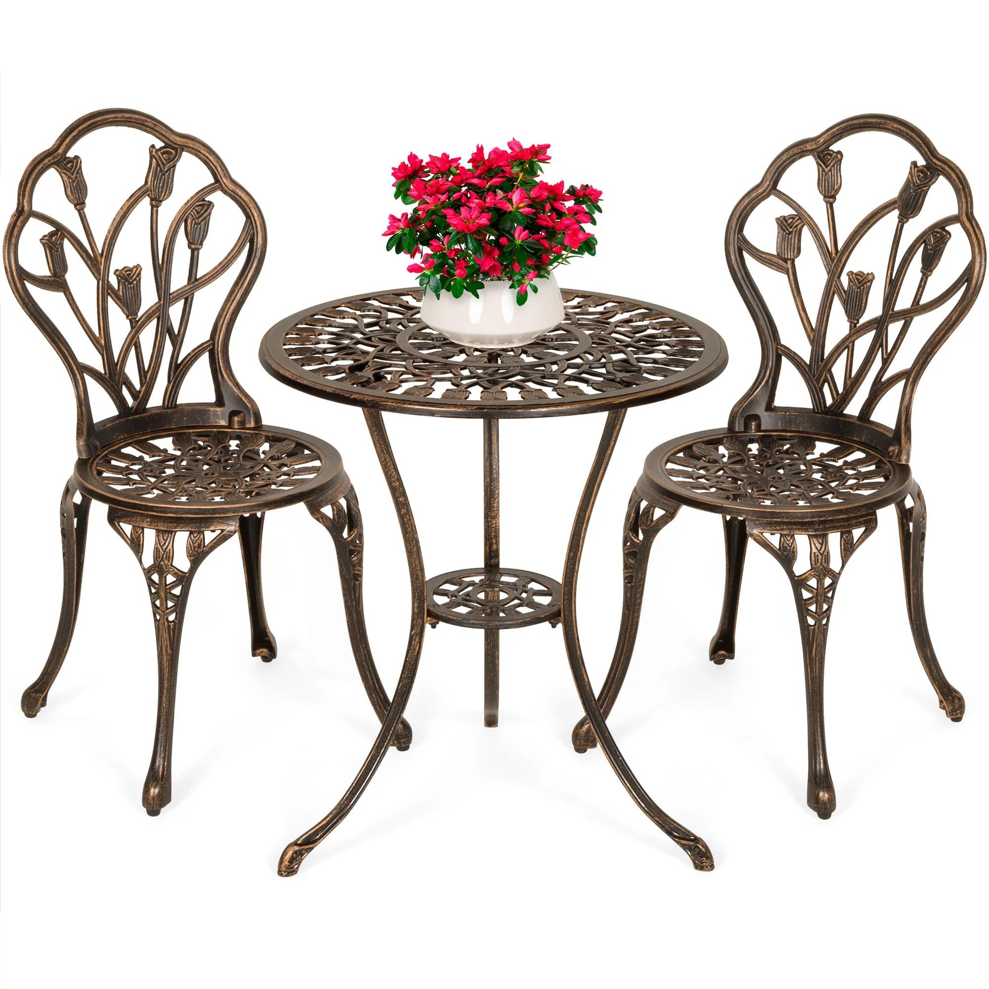best choice products 3 piece cast aluminum patio bistro furniture set w antique copper finish walmart com