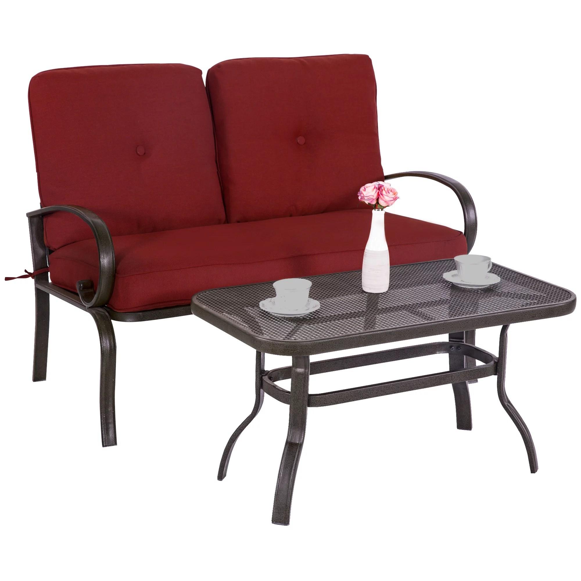 cloud mountain wrought iron 2 piece patio loveseat conversation set walmart com