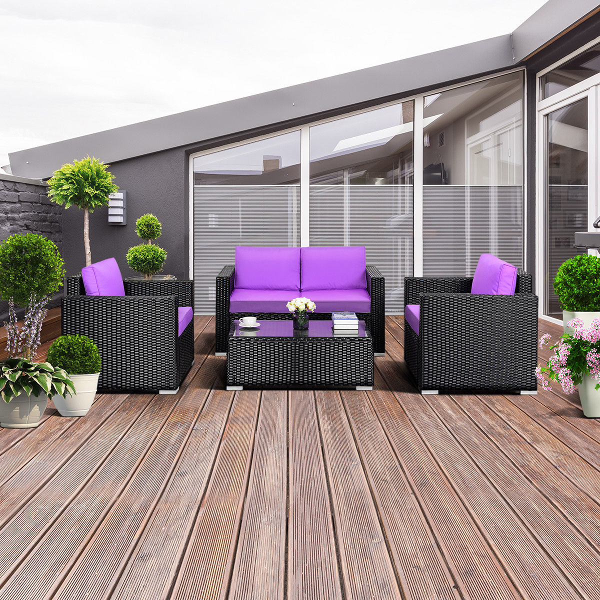 gymax 4pc rattan patio furniture set outdoor rattan wicker with purple cushion