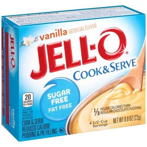 JellO Vanilla Sugar Free Fat Free Cook Serve Reduced