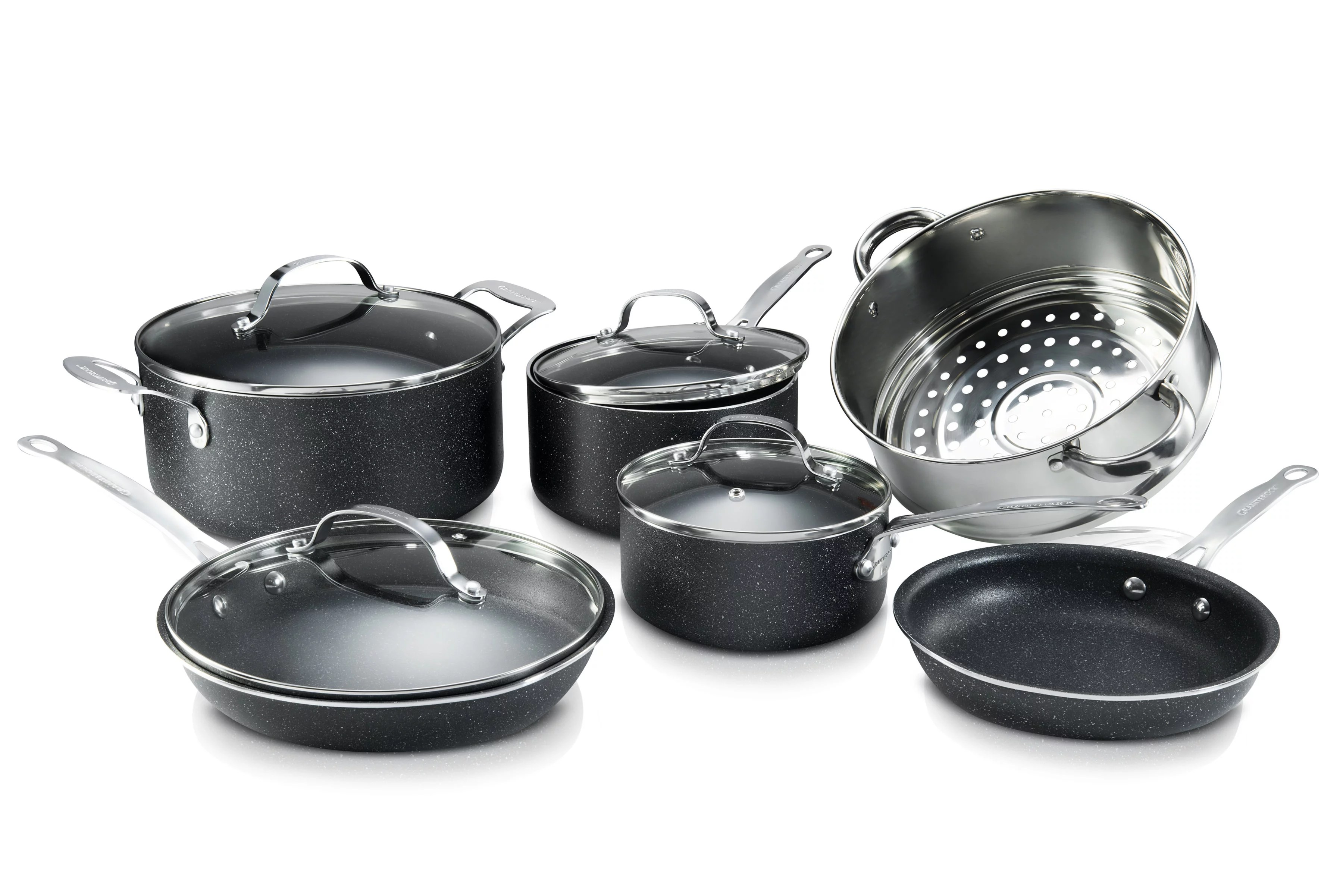 granite stone 10 piece nonstick pots and pans cookware set ultimate durability and nonstick with mineral diamond triple coated