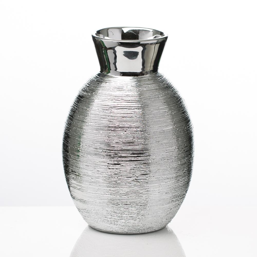 "Richland Vases Elegant Ceramic Silver 6.5"""