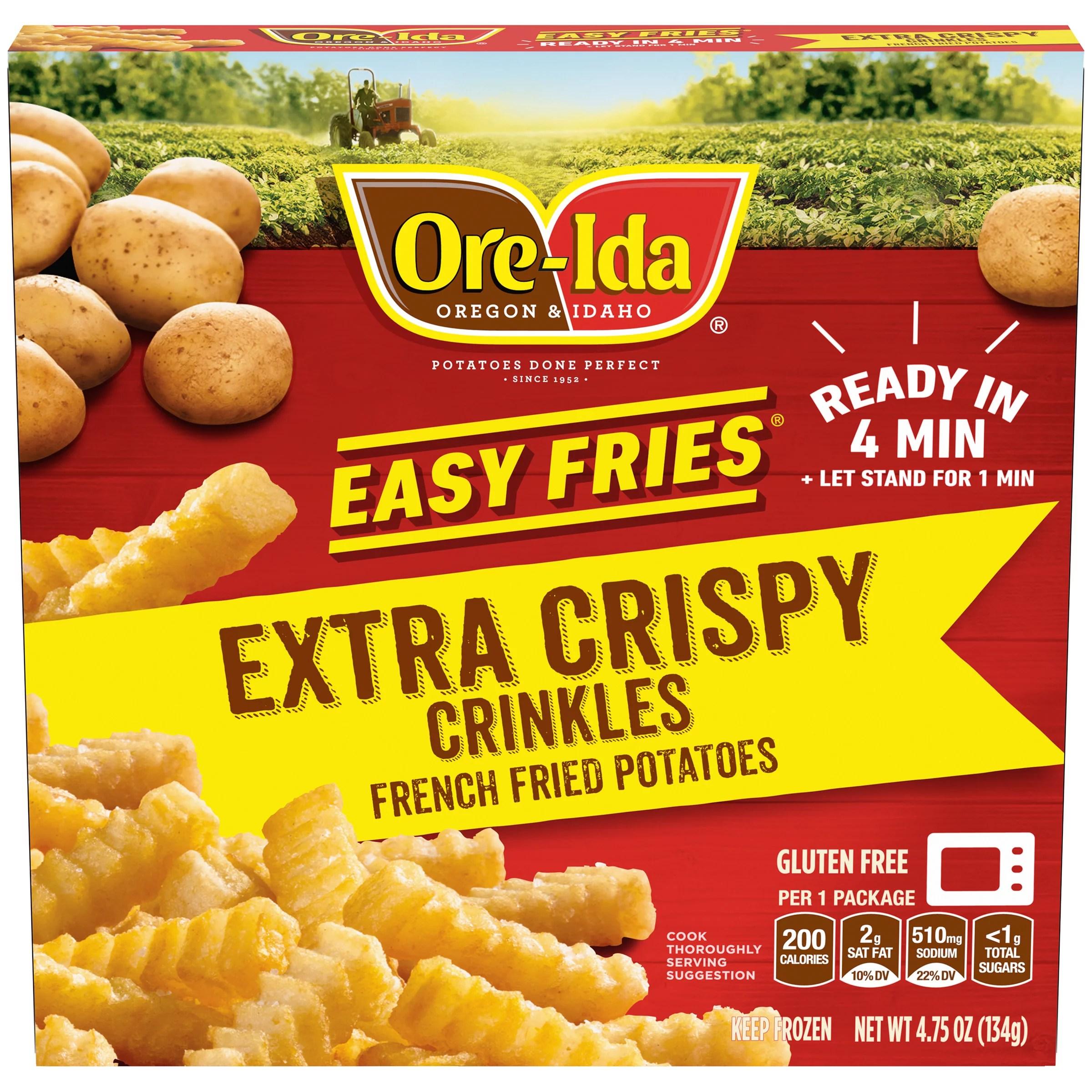 ore ida ready in 5 extra crispy crinkles french fried potatoes 4 75 oz box