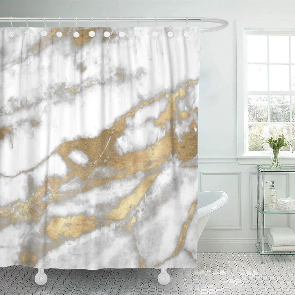 suttom luxury marble stone white gray silver gold carra glam shower curtain 66x72 inch
