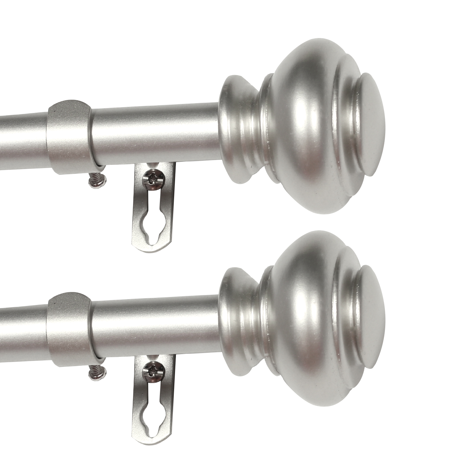 easy install decorative single curtain rod 3 4 inch diameter window treatment single rod set 2 pack adjustable length from 66 to 120 inch nickel