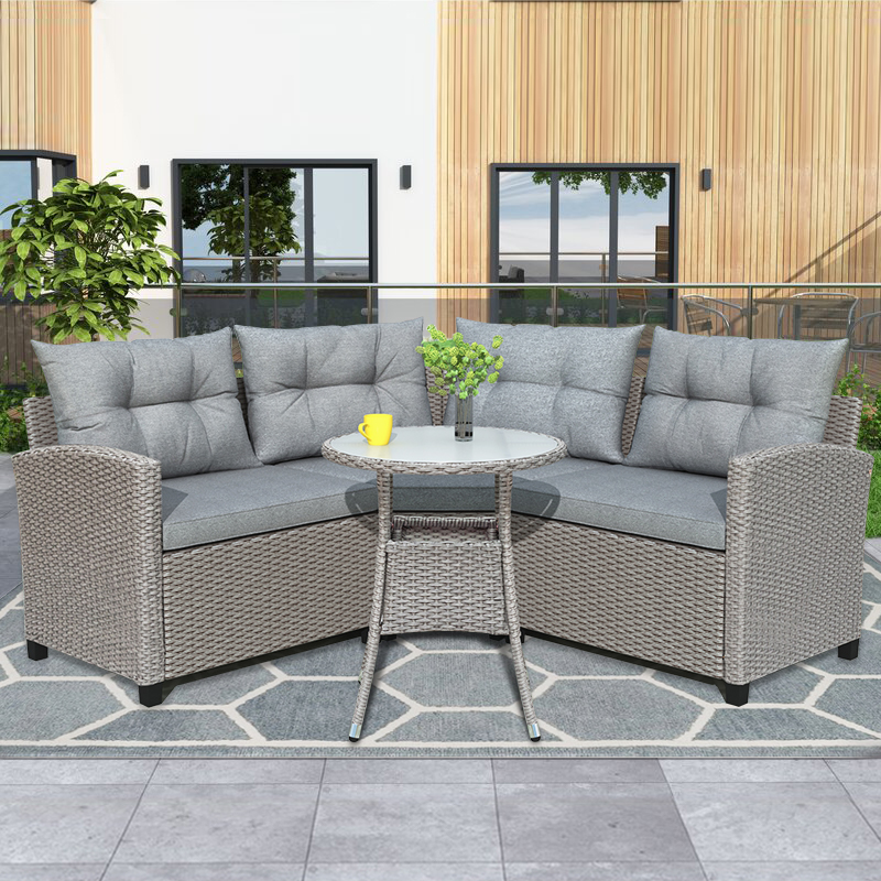 patio furniture sectional sofa sets 4 pieces wicker outdoor furniture dining set outdoor sectional sets with round table and gray cushion patio