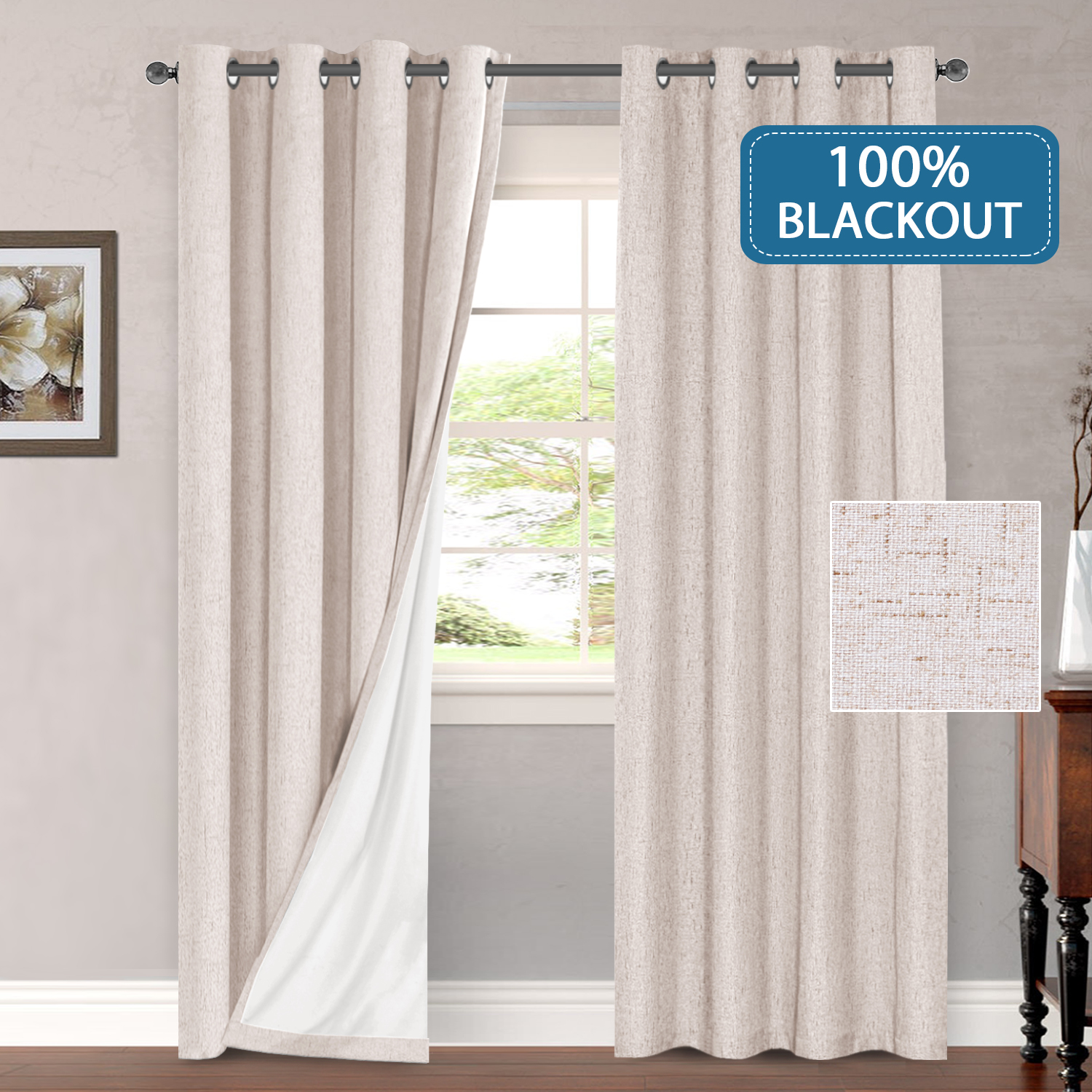outdoor curtains 100 blackout draperies for patio waterproof linen look blackout curtains for bedroom extra long 108 inches grommets window curtain