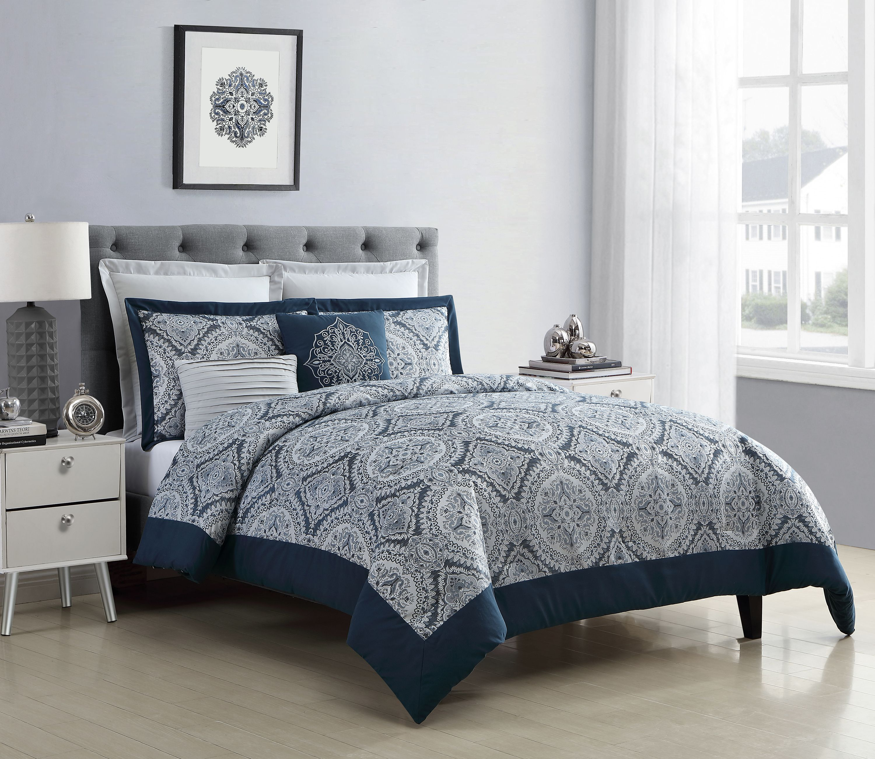vcny home yorkshire jacquard navy medallion comforter set queen blue white
