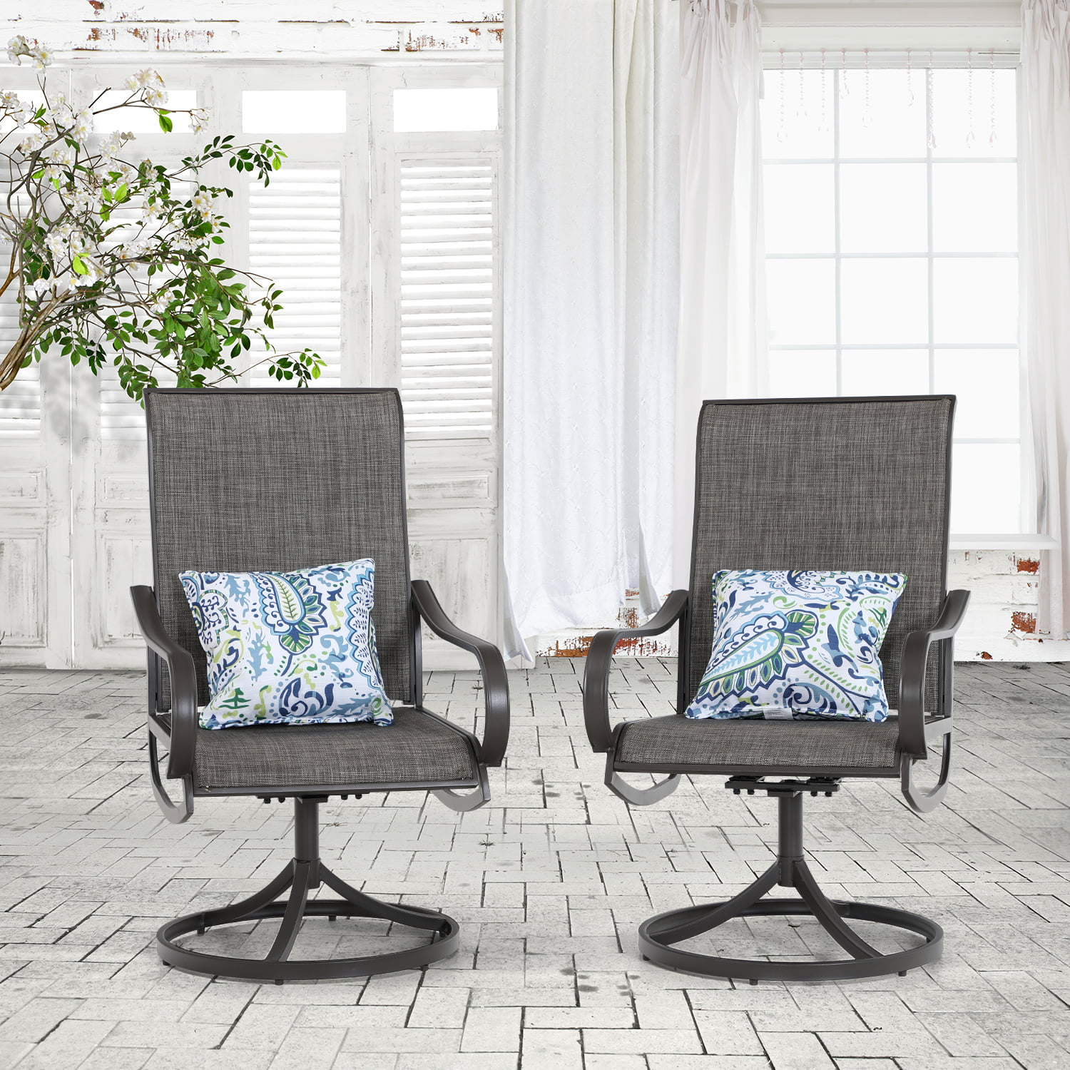 mfstudio 2 pieces patio dining chairs swivel metal chairs all weather resistant outdoor furniture sling mesh brown steel frame walmart com