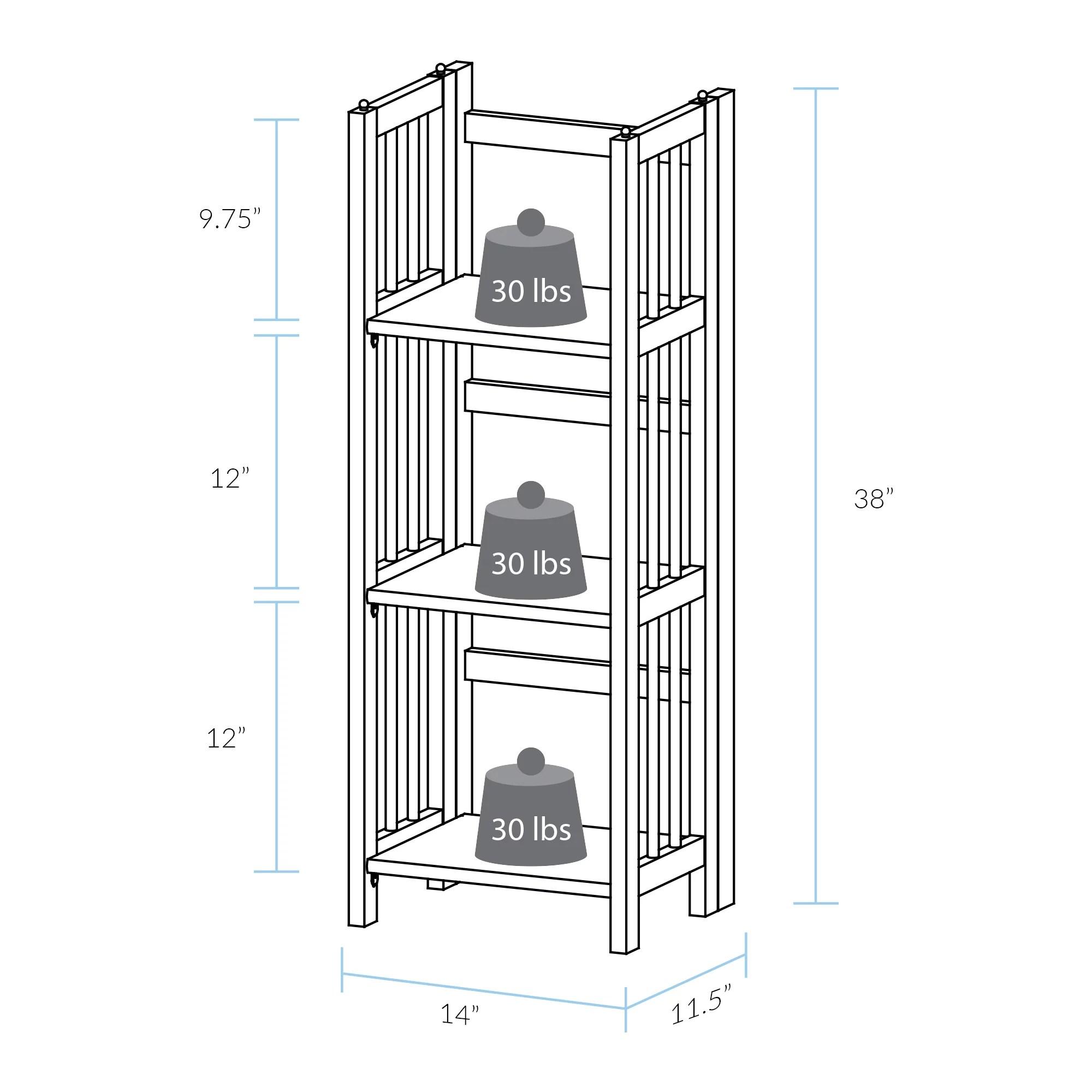 Casual Home 3 Shelf 14 Inch Folding Office Wood Furniture