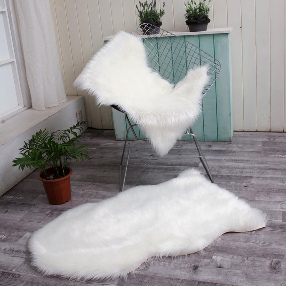 doux faux peau de mouton fourrure chaise housse de canape blanc zone tapis chambre plancher canape salon 2 x 3 pieds