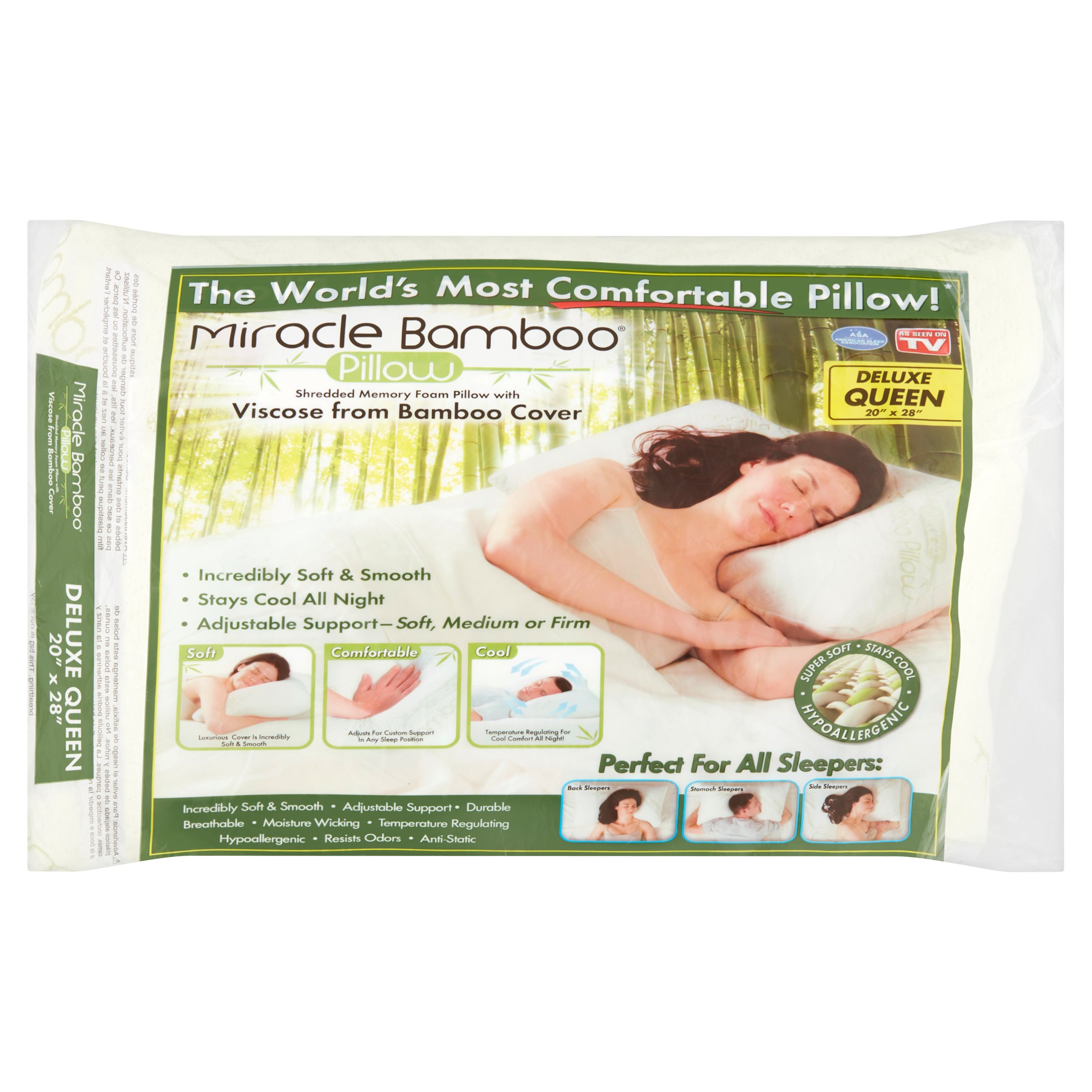 miracle bamboo pillow queen size memory foam pillow with bamboo viscose cover as seen on tv walmart com