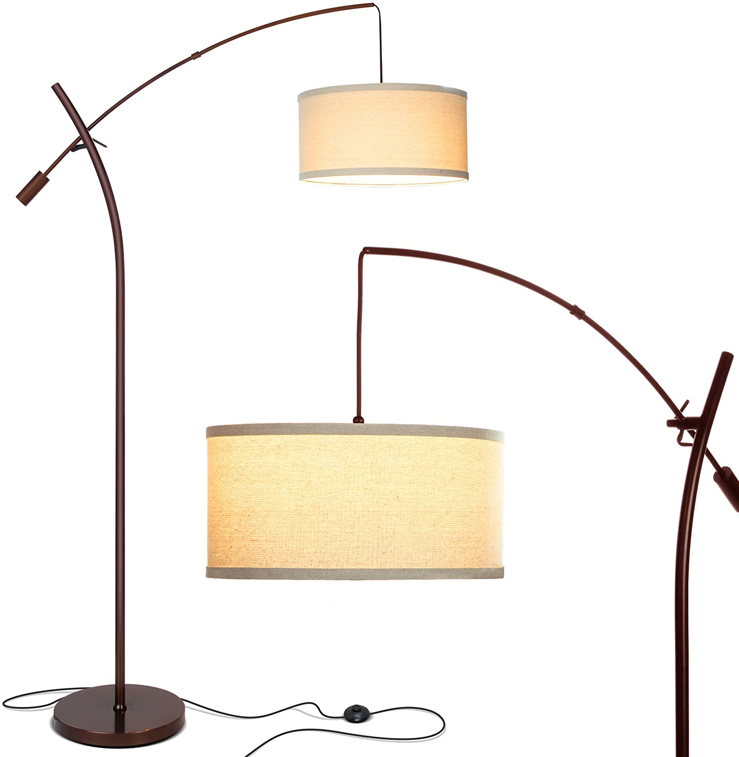 brightech grayson modern arc floor lamp for living room contemporary tall led light reaching from behind the couch to hang over it adjustable