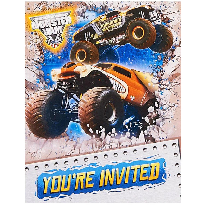 monster jam 3d invitations 8pk