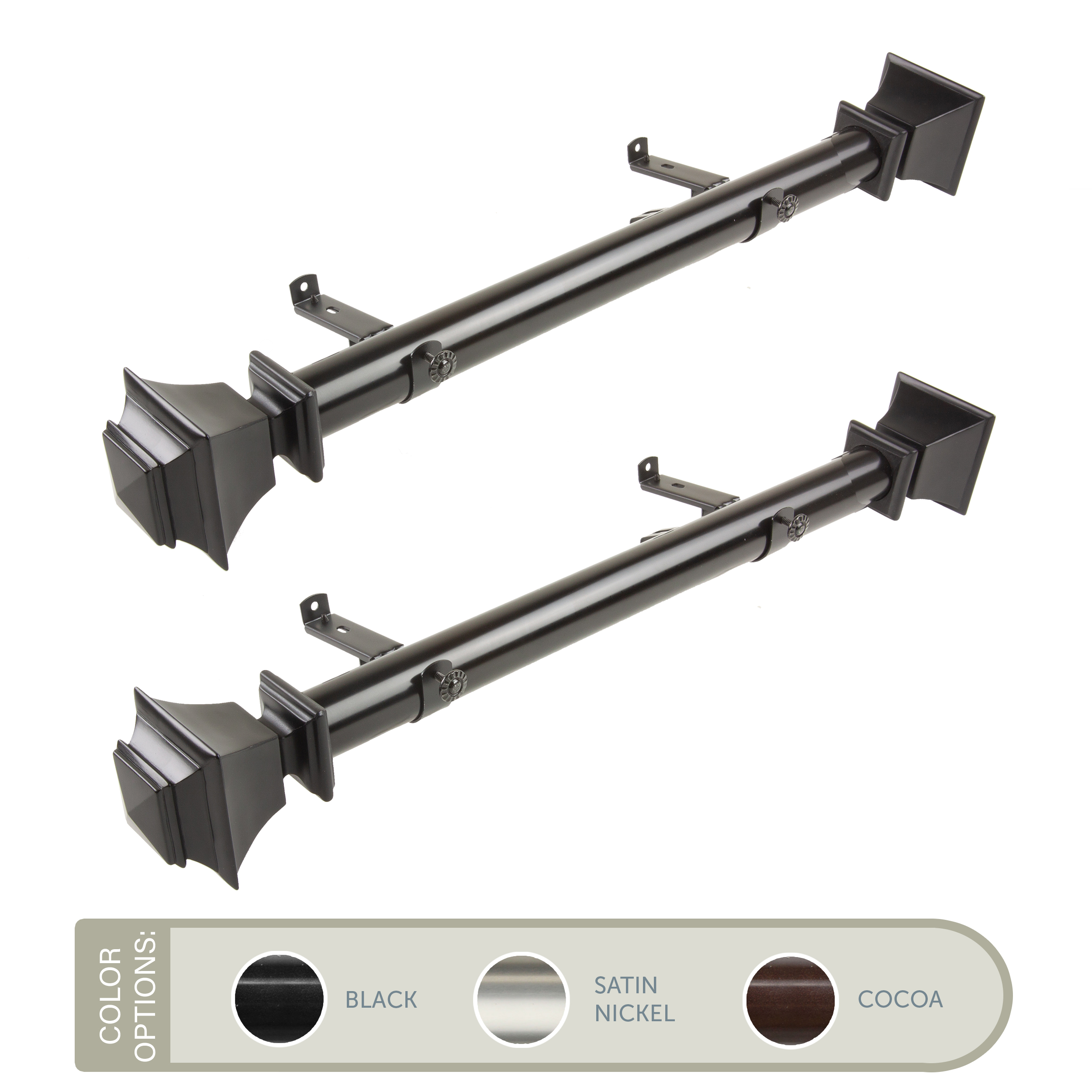 owen 1 5 side curtain rod 24 inch long set of 2 black walmart com