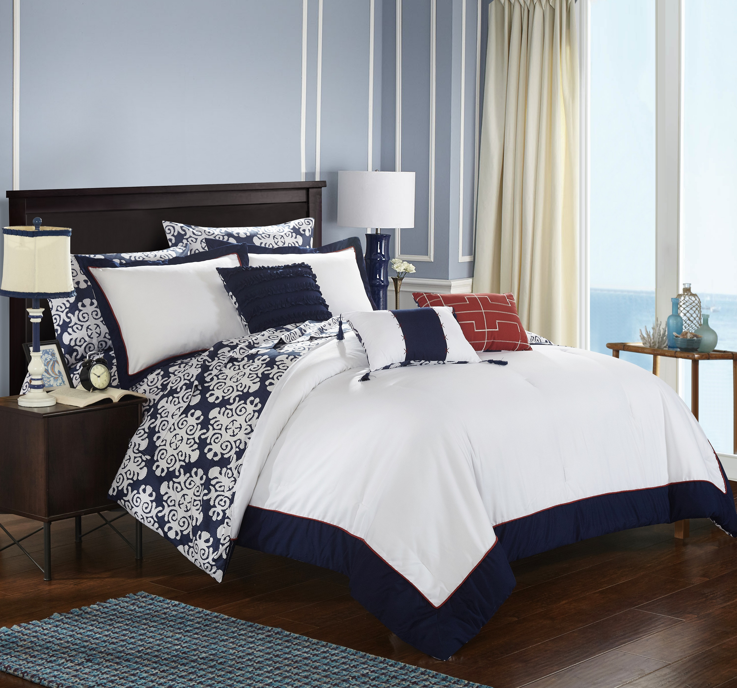 chic home 8 piece lalita navy blue and white reversible medallion printed plush hotel collection twin bed in a bag comforter set navy with sheet set
