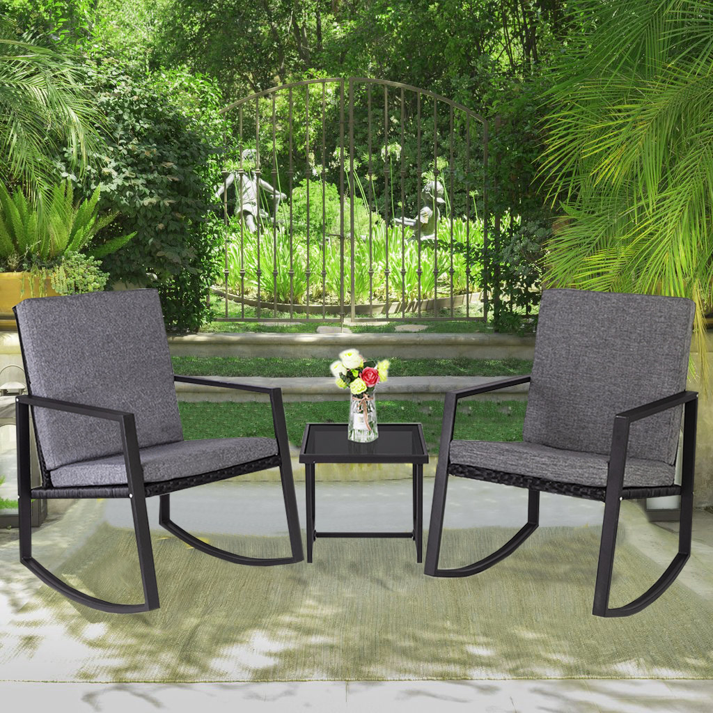 outdoor rocking chair sets wicker patio furniture with 2 rocking chairs and glass side table patio lounge chair for outdoor yard garden rocker